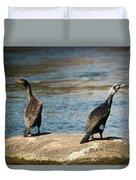 Birds And Lake Duvet Cover