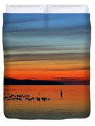 Birds At Dawn By The Buoy  Duvet Cover