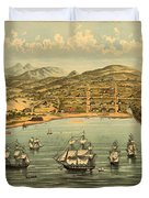 Birds Eye View Map Of San Francisco 1846 Duvet Cover
