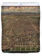 Birds Eye View Of Chicago 1916 Duvet Cover