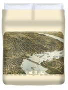 Birds Eye View Of Jacksonville Florida 1893 Duvet Cover