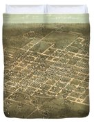Bird's Eye View Of The City Of Raleigh, North Carolina 1872 Duvet Cover