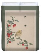 Birds Insects And Flowers Duvet Cover