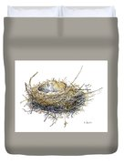 Bird's Nest Watercolor Painting Duvet Cover