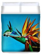 Birds Of Paradise With White Necked Jacobin Hummingbird Duvet Cover