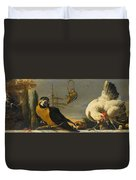 Birds On A Balustrade, Melchior D'hondecoeter, C. 1680 - C. 1690 Duvet Cover