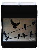 Birds On Wire Duvet Cover