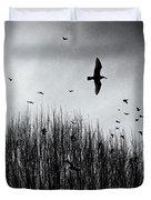 Birds Over Bush Duvet Cover