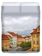 Birds Over Prague Duvet Cover