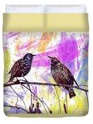 Birds Stare Nature Songbird  Duvet Cover