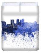 Birmingham Al Skyline In Blue Watercolor On White Background Duvet Cover