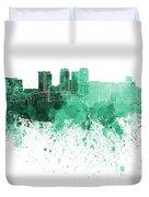 Birmingham Al Skyline In Green Watercolor On White Background Duvet Cover
