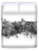 Birmingham Skyline In Black Watercolor On White Background Duvet Cover