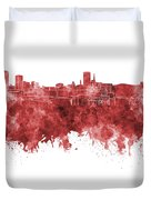 Birmingham Skyline In Red Watercolor On White Background Duvet Cover