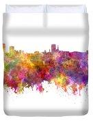Birmingham Skyline In Watercolor On White Background Duvet Cover
