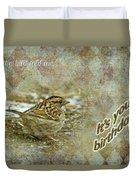 Birthday Greeting Card - White-throated Sparrow Songbird Duvet Cover
