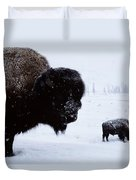 Bison Bison Bison In The Snow Duvet Cover