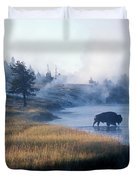 Bison Crosses The Firehole River Duvet Cover