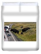 Bison Disrupting Traffic Duvet Cover