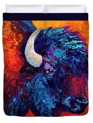 Bison Head Color Study II Duvet Cover