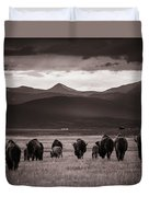Bison Herd Into The Sunset - Bw Duvet Cover