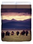 Bison Herd Into The Sunset Duvet Cover