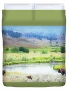 Bison In The Meadow Duvet Cover