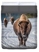 Bison In The Road - Yellowstone Duvet Cover