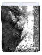 Bison Portrait Monochrome Duvet Cover