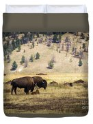 Bison With Calf Duvet Cover