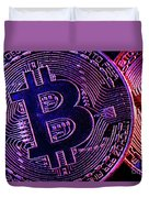 Bitcoin Coins In A Mysterious Lighting Duvet Cover