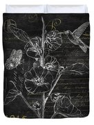 Black And Gold Hummingbirds 1 Duvet Cover