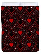 Black And Red Hearts Duvet Cover