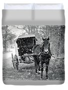 Black And White Amish Buggy Duvet Cover
