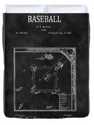 Black And White Baseball Game Patent Duvet Cover