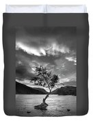 Black And White Beautiful Landscape Image Of Llyn Padarn At Sunr Duvet Cover