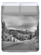 Black And White Bow Valley Parkway - Winter Duvet Cover