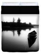 Black And White Canoe In Still Water Duvet Cover
