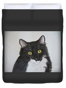 Black And White Cat Duvet Cover by Megan Cohen