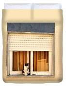Black And White Cat On The Windowsill Duvet Cover