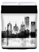 Black And White Detroit Duvet Cover