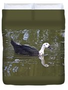 Black And White Duck Reflections Duvet Cover