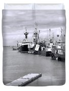 Black And White Fishing Boats On The Dock Duvet Cover