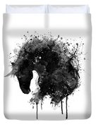 Black And White Horse Head Watercolor Silhouette Duvet Cover