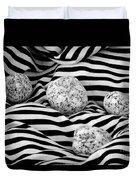 Black And White Lines And Stones  Duvet Cover