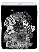 Black And White Love Bouquet Duvet Cover