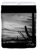 Black And White Night In Arizona Duvet Cover