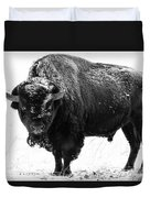 Black And White Of A Massive Bison Bull In The Snow  Duvet Cover