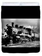 Black And White Of An Old Steam Engine  Duvet Cover