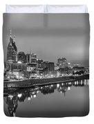 Black And White Of Nashville Tennessee Skyline Sunrise  Duvet Cover